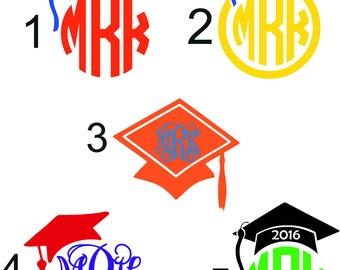 Graduation Monogram - Graduation Gift - College Graduation - High School Graduation - Elementary Graduation - Graduation Sticker - Graduate