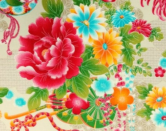 2666A - Sale - Georgeous Floral Fabric in Creamy, Cotton Twill Fabric, Fabric Width 90 cms x 148 cms, Flower Blossom Fabric