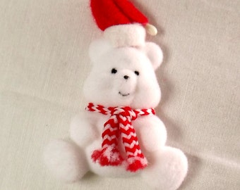 Lot Of 24 Flocked White Miniature Christmas Teddy Bears w/Santa Hat and Scarf - Craft Projects