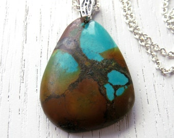 SALE - Rustic Tibetan Turquoise Pendant Necklace with Brown, Turquoise and Ocre