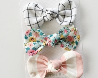 Cooper- Set of 3 Fabric Knot Bows- YOU choose size and hardware