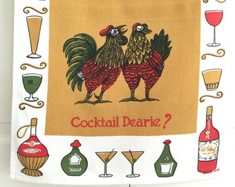 Vintage Cocktail Bar Towel Roosters Gift for Friend