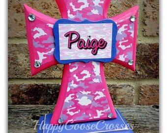 Cross - Wood Cross - MINI-Standing - Pink and Purple Camo with Name Plaque