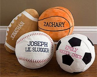 Personalized Plush Sports Pillow Baby Birth Announcement Child Football Soccer Baseball Basketball Pillow