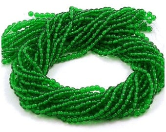 Czech Glass Green Emerald Round Druk Beads 4mm - 100