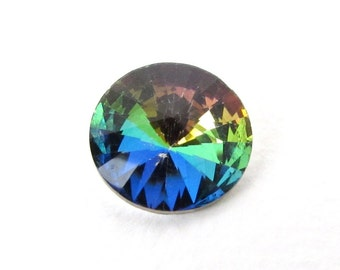 Vintage Glass Rhinestone Vitrail Jewel Rivoli Faceted Foiled Round 18mm rhs0564 (1)