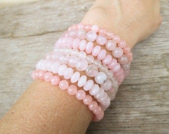 Rose Quartz Stretch Bracelet Set, Gemstone Bracelets Pantone 2016
