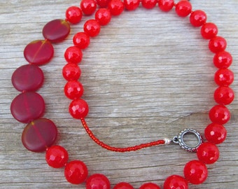 "Blood Orange Red Beaded Necklace, ""Sunset"""