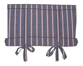 Red White Blue Cotton Stripe 36 Inch Long Swedish Roll Up Shade Tie Up Curtain Stage Coach Swag Blind