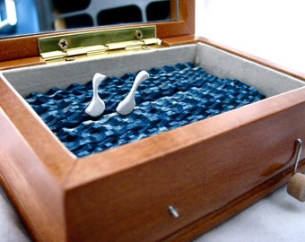 kinetic wooden sculpture, woodland home decor, wood swans automaton, small wood box, unique wedding gift