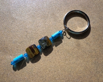 Turquoise Key Ring, Chalk Turquoise and Blue Tiger Eye Gemstone Beads, Healing Stone, Prosperity Stone, Good Luck Stone, Split Key Ring