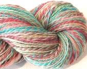 Handspun yarn, Petit Fours, worsted weight, 2 ply, 482 yards, wool yarn, pastel yarn,  knitting supplies, blue green yarn,  crochet supplies