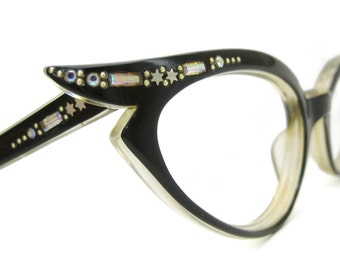 Vintage pointy Cat Eye Glasses Eyeglasses Frame With Rhinestone