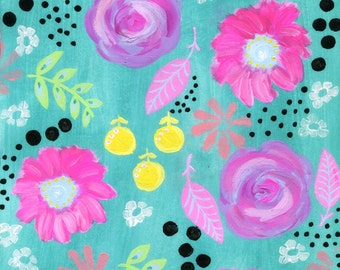 Floral Pattern Painting, Whimsical Flowers Art Print, Girl's Room, Pink, Lavender, Yellow, Turquoise, Green, Black Accents, Leaves