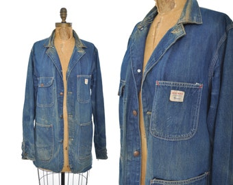 1950s Big Mac denim chore jacket / distressed denim jacket / 50s workwear jacket