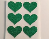 envelope seals - small green glitter heart seals - stickers - made to order