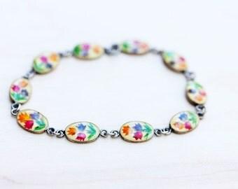 Sterling Silver Pressed Flower Bracelet
