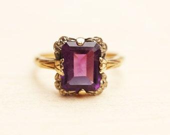 Amethyst Gold Ring, Rectangle Amethyst Ring, 10K Gold Amethyst Ring, Vintage Amethyst Ring, Size 7.25 Ring