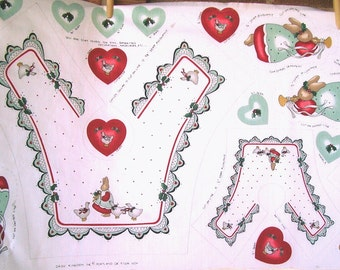 Vintage 80s Daisy Kingdom Angel Bunny Set of Collars for Girls and their Dolls Fabric Panel