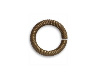 6 pieces 14.5mm Coiled Cable Jump Ring - Brass, Vintaj Item JR110