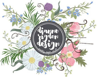 Floral Clip Art - .PNG Commercial Use - Professional Use - Instant Download - High Res - Flora 1 - 32 pieces