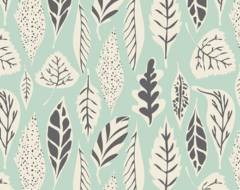 Hello, Bear Fabric - Leaflet Eucalyptus - Gray White Grey Mint Green Designer Cotton-Art Gallery Fabrics- Baby Boy - Unisex - In Custom Cuts