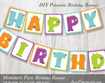 Printable banner Little Monster birthday party, monster bunting, monster party flags, monster bash printable banner instant download PB013