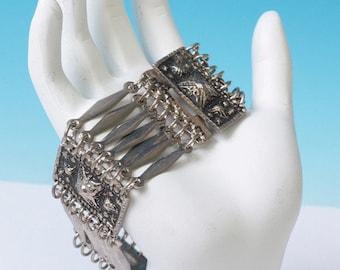 CIJ Sale Mexican Primitive Design Vintage Bracelet Silver Tone Raised Plaques