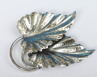 Sterling Double Leaf Brooch Danecraft Signed Vintage