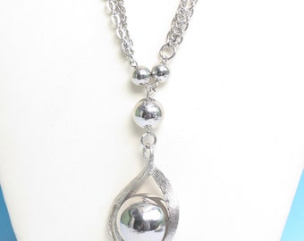 Disco Ball Pendant Three Chain Necklace Large Silver Tone Chunky Vintage