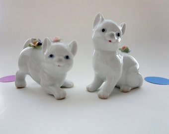 Vintage Cat Salt and Pepper Shakers  - White Porcelain Cat Salt and Pepper Shackers