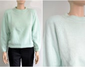 80s Angora Sweater Soft Fuzzy Mint Color Oversize Cropped Unworn New Condition with Tags medium