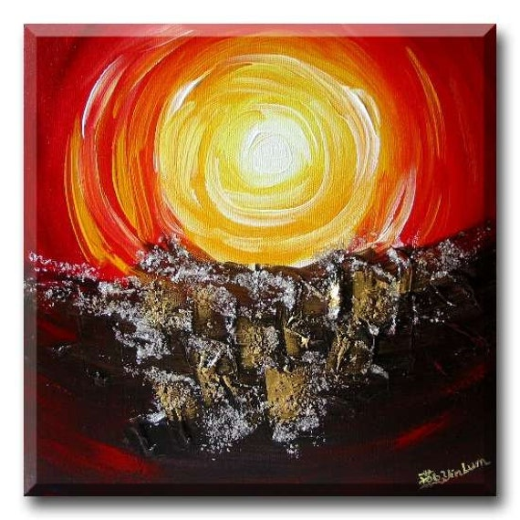 30cm x 30cm  Red Hot Yellow Sun Sunset Sunrise abstract art painting home decor wall art hanging canvas acrylic mix-media art