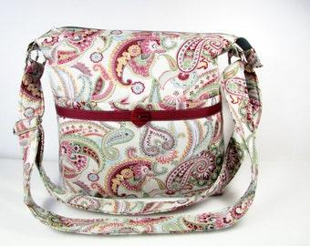 Gray and Burgundy Oriental Paisley Handmade Fabric Purse / Matching Glass Case / 11 Pockets