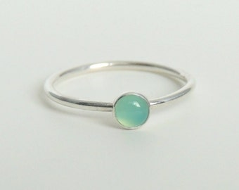 Aqua Chalcedony Ring Sterling Silver Stacking Ring