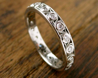 Diamond Wedding Ring in Palladium with Fine Floral Scroll Motif Eternity Size 6