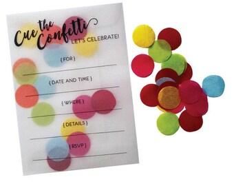 Fill-in Invitations Confetti Celebration  - 10 pack