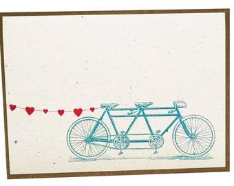 Tandem Bike with Heart Banner Card - single card