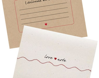 Love Note Card Sewn with Red Thread - Single Card