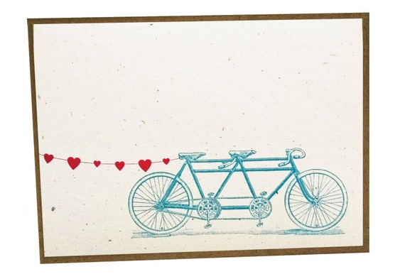 Tandem Bike with Heart Banner Card - single card