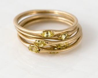 Yellow Sapphire Marquise Stacking Ring in Solid 14K Gold