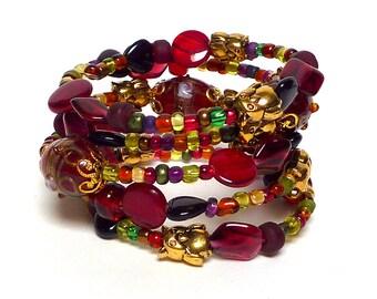 TREASURE HUNT coil Beaded Bracelet by Beading Divas Fundraiser