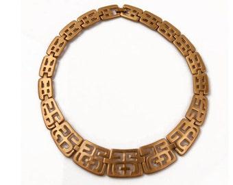 1970s Brushed Gold Plated Metal Open Work Greek Key Pattern Vintage Choker Necklace