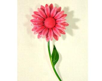 1960s Pink and Green Enamel on Metal Mod Groovy Vintage Flower Pin Brooch