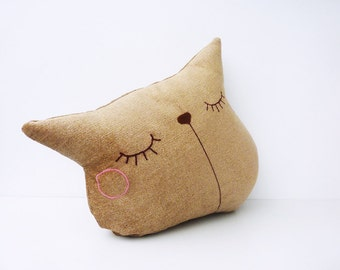 Cat Pillow, Sleepy Kitty Pillow, Cat Cushion, Decorative Pillow, Throw Pillow, Couch Pillow Animal