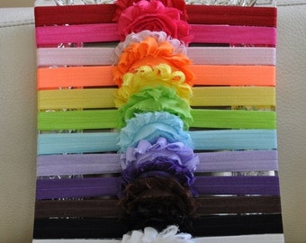SALE Baby Headbands  - Flower Headband - Newborn Headband - Baby Girl Headband - Toddler Headband - Shabby Chic Rose Flower - 12- Pa