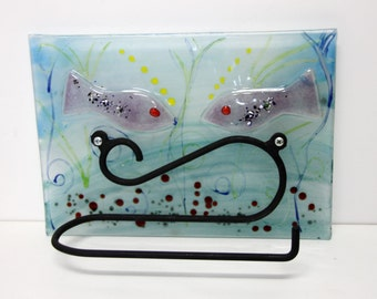 Turquoise Toilet Paper Holder, fused glass tile toilet paper hanger with Purple fish Decoration