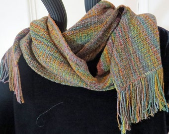 SCARF Handwoven, Hand Dyed  and Long. Subtle Gem Colors Soft to the Touch