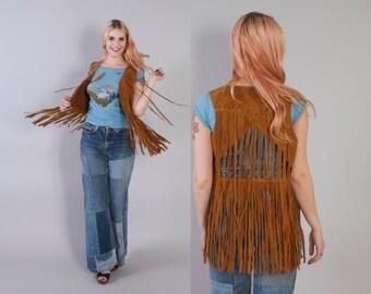 Vintage 60s SUEDE VEST / 1960s Brown Leather Fringed Cut-Out Back Festival Vest