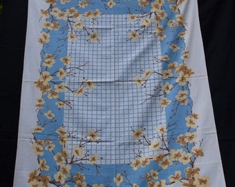 """Sky Blue and Yellow Flowers Surround This 1950's Vintage Tablecloth 54"""" x 66"""""""